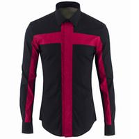 أوروبا الفاخرة الرجال القميص ماركة المرقعة العلامة التجارية قميص الرجال عارضة يتأهل قمصان رجالي قميص أوم انطلاقها camisa الغمد