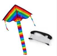 قوس قزح طويل الذيل مثلث النايلون كايت ripstops سهلة يطير 30 متر مقبض خط مجلس سلسلة بكرة الأطفال بالجملة نسيم لطيف يطير