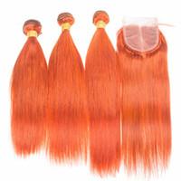 Brasilianische Orange Menschenhaar 3 Bundles Gerade Weben mit Top-verschluss Pure Orange Reine Haareinschlagfaden Extensions mit 4x4 Spitzefrontverschluss