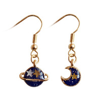 패션 (쥬얼리 제조 업체) 40 PC를 많이 귀여운 환상적인 별 판타지 블루 행성 달 귀걸이 공장 패션 귀걸이 HJ177