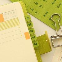 Index mensuel de planificateur annuel mensuel de marque-pages de haute qualité de PU pour le carnet et le calendrier laitier en cuir autocollant scrapbook autocollant
