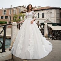 vestido de noiva 2019 långärmad bröllopsklänning applikationer bollklänningar vit tulle spets bridaldress v-back pärlstav o-neck klänning bröllop
