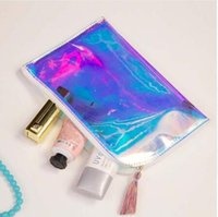 Holographic Transparent PVC Cosmetic Bags Womens Makeup Bag ...