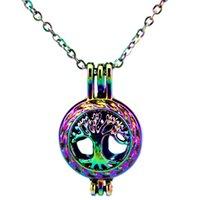 C23 Rainbow Color Life Tree Beads Cage Ciondolo Ciondolo collana di olio essenziale diffusore Aromaterapia collana ciondolo medaglione