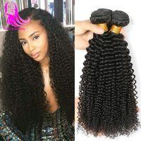 Jerry Curly Tissages Brésilien cheveux bouclés 3 Bundels Vierge Kinky Curly Human Hair Weave 100% des cheveux non transformés Trame Extensions Sunny Beauty