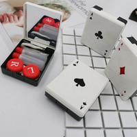 포커 카드 클럽 다이아몬드 하트 렌즈 용 콘택트 렌즈 귀여운 안경 용 콘테이너 상자