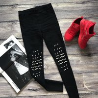Alta estiramento Vintage rebite Beading Jeans Buraco Elastic Skinny Jeans Mulher Calças Lápis Preto Ripped Jeans Feminino XL 2XL
