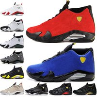 Дешевые Горячие 14 14s мужской баскетбол обувь Desert Sand DMP Последний выстрел Indiglo Thunder Red Suede окисленных конфета мужчин спортивные кроссовки