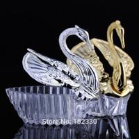 Neue Hochzeitsbevorzugungen Acryl Silber Swan Süße Hochzeitsgeschenk Jewely Pralinenschachtel Candy Geschenkbox