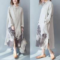 Femmes longues Chemises en vrac coton lin Casual Blouses Automne New Vintage Print poches Floral Tops Mode Bouton