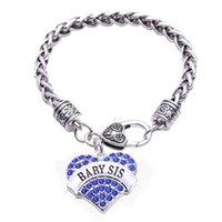 BABY SIS cristallo a forma di cuore fascino pendent catena a maglia di grano famiglia ragazza polsino braccialetto gioielli braccialetto