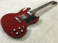 Wine red clear coat S. G style electric guitar, custom logo fr...