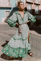 Green boho beach dresses women chic floral printed maxi V- ne...
