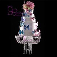 """كعكة الزفاف حامل شفاف كريستال الخرز الاكريليك الرئيسية الجدول ديا 18 """"× 1.5 متر العرض تزيين الكعكة"""