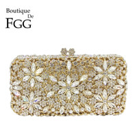 Boutique De FGG Hollow Out Flower Women Crystal Clutch Evening Bags Metal  Box Minaudiere Wedding Party Diamond Handbag and Purse 12e5c8325526