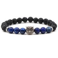 Lava Chakra Armband Agate Tiger Eye Stone Healing Armband Män Smycken Svart Lava Bead Armband