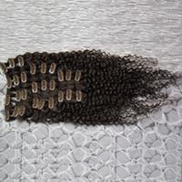 9pcs غريب مجعد كليب في الشعر الإنسان ملحقات شقراء البرازيلي ريمي الشعر 100 ٪ الإنسان براون كليب الإضافية حزمة