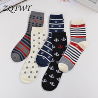 Wholesale- 5 Pair Lot High Quality Navy Style Cotton Socks M...