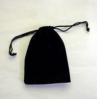 Kadife siyah Saf renk Çantaları kadın bağbozumu İpli çanta Hediye için diy el yapımı Takı Ambalaj Çanta