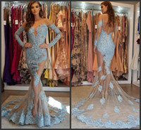2019 New Illusion Mermaid Abendkleider mit langen Ärmeln Sheer Neck Backless Spitze AppliquedProm Kleider Perlen Vestidos De Fiesta Abendkleid