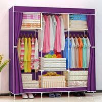 간단한 실용적인 옷장 강화 강관 armoire 먼지 증거 헝겊 백로베를받은 매장 침실 가구 뜨거운 판매 48sn dd