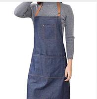 Cucina calda Denim lavoro Grembiule unisex per cucinare grembiule per Donna uomo Cowboy Antifouling Chef Cottura grembiule Delantal Tablier