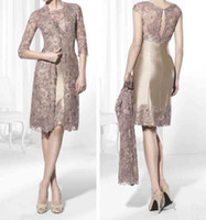 Золотая коричневая длина колена короткая мать платья невесты кружевная куртка плюс размер свадебные гостевые платья