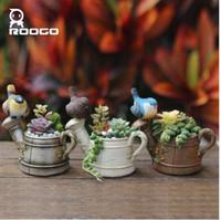 Roogo Fleshier plante pot de fleur polyresin Micro paysage bonsaï succulente planteuse viande pots de fleurs
