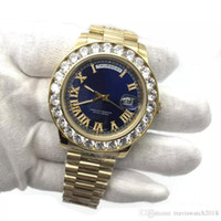 Luxury 43mm Big Diamonds Mens Watch Gold President Sapphire ...