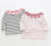 girl kids clothing long sleeved T shirt stripped sunflower r...