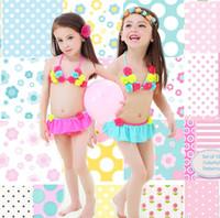 PROSEA أطفال اطفال بنات حلوة زهرة البيكينيات ملابس الفتاة المايوه قطعتين المايوه بحر