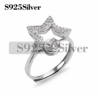 Star Ring Blanks Jewelry Making 925 Sterling Silver Paved Cu...