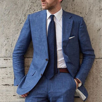 Blue Linen 2018 Men Suits for Wedding 2 Pieces Summer Beach ...