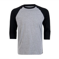 Atacado-New Raglan 3/4 Beisebol Mens Plain Tee Casual T-shirt S-3XL