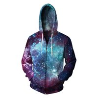 2018 New Starry sky Hooded Sweatshirt Zipper Outerwear Galax...
