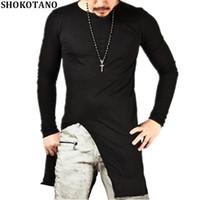 Homens camisetas Shokotano Hip Hop Algodão Camisetas Homens Solid Longo Manga Longa T-shirt Streetwear Longo Slim Fit Camisetas