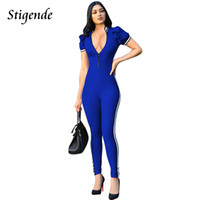 Stigende Summer Jumpsuit Femmes Ruched manches courtes Bodycon Combinaison Sexy Casual Zipper Front Stripe Long Romper Clubwear