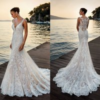 Eddy K 2018 Wedding Dress Sheer Full Lace Robe De Mariee Bea...