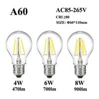 E27 E26 светодиодная лампа накаливания 4W / 6W / 8W 110V / 220V 240V A60 стекло классический старинный светильник лампы Edison для ретро подвесной крепеж