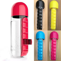 600ml Water Bottles Sports Plastic Mug Combine Daily Pill Bo...