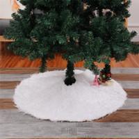 الأبيض جولة فو الفراء تنورة شجرة عيد الميلاد 48 بوصة بقطر - أشعث أشعث فو جلود شجرة عيد الميلاد ديكور