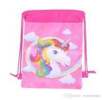 아름다운 유니콘 드로 스트링 가방 어린이 만화 배낭 테마 유니콘 캐릭터 가방 어린이 소녀 동물 졸라 매는 끈 가방