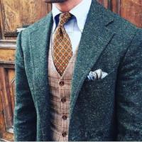 Moda de invierno Azul Donegal Tweed Novios Esmoquin Muesca Solapa Un botón Hombres Boda Esmoquin Hombres Cena Traje de fiesta (Chaqueta + Pantalones + Corbata + Chaleco) 1907