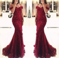 Junoesque Burgundy Lace Mermaid Prom Dresses Appliques Off t...