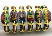 12pcs Estilos mezclados Resina Impreso Che Guevara / Bob Marley / Estrella de David Hexagrama Pulseras de cuero Colorido Amistad Pulseras Regalo MB118