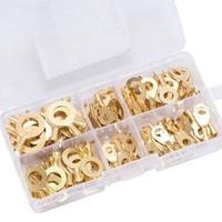 Kit de surtido de terminales de anillo de cobre no aislado Cable Conector Alambre Crimp Spade Kit de cableado eléctrico - Calibre 10-4 - Organizador
