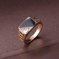 Moda joyería masculina clásico oro color Rhinestone anillo de boda negro esmalte anillos para hombres regalo de la fiesta de Navidad