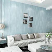 Wholesale-Non-Woven Mode dünne Beflockung vertikale Streifen Tapete für Wohnzimmer Sofa Hintergrund Wände Home Wallpaper 3D Multicolor