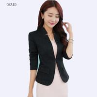 OEAID 2018 Весна костюмы женщины Blazers полный рукав белый короткие тонкий дамы Blazer верхняя одежда мода черный пальто женский