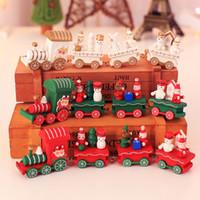 Tren de navidad madera pintada Inteligencia De Madera 3d Iq Puzzle Cubo Mágico Carro de Juguete Madera Tren de Navidad Ornamento Decoración Niños Regalo Juguetes